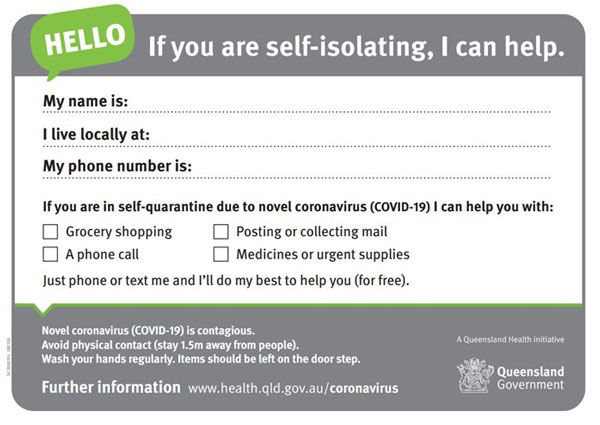 Self quarantine assistance card